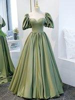 Sage Evening Dress Elegant Satin Prom Gowns Saudi Arabia Style Sweethear Lace-up Back Floor Length
