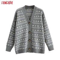 Women's Knits & Tees Tangada Women Elegant Geometry Cardigan Vintage Jumper Lady Fashion Oversized Knitted Coat 1F292