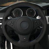 Hand-stitched Car Steering Wheel Cover Non-slip Black Suede For BMW M5 E60 E61 (Touring) M6 E63 E64 2005-2010