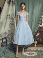 Light sky Blue Formal Evening Dresses Short Tea Length 2021 Lace-up Back A Line Prom Gowns Robe De Soiree Lace Appliques Special Occasion Dress Party Bride Reception