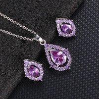 Earrings & Necklace 30# Women Bride Water Drop Jewelry Sets Shiny Zircon Wedding Set Snecklaces Female Elegant 2021