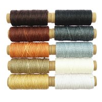 10pcs 150D 50m Flat Waxed Cord Wax Thread Sewing Craft Tool Hand Stitching For DIY (116) Yarn