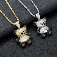 Linda dibujos animados Panda Hip Hop Gilded Out Cubic Zircon Cobre Colgante Colgante Collar 24 '' Cadena Moda Charms Joyas Collares
