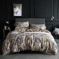 Bedding Sets 60s Egyptian Cotton Set Tropical Leaves Flowers Duvet Cover Silky Soft Queen King Bed Sheet Quilt Pillowcases