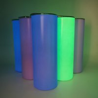 Sublimación recta taza 20 oz taza de coche brillo en el blanco oscuro flaco con pintura luminosa Copa de transferencia de calor aislada de vacío