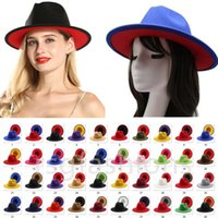 40 Colors Two Tone Fedora Jazz Hats For Women And Men Double-sided Color Wide Brim Panama Cap Wool Felt Bowler Hat