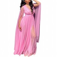 Ethnic Clothing 4XL 5XL Plus Size Blue Pink African Dresses For Women Autumn V-Neck Long Maxi Dress Africa Clothes Female