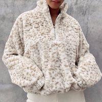 Women Long Sleeve Turtleneck Sweatshirt Fuzzy Plush Leopard Pullover Top Harajuku Half Zip Drawstring Hem Streetwear Women's Hoodies & Swea