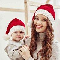 Aile Maçı Anne Bebek Çocuk Noel Şapka Beyaz Sınır Ile Örme Kırmızı Noel Kap Çocuk Erkek Kız Kadın Erkek Sıcak Kış Beanie Pom Pom Kafatası Kapaklar Yeni G96loy6