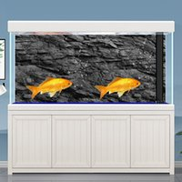 1Roll 3D Effect Black Stone Aquarium Background Poster HD Rock Stone Self-adhesive Fish Tank Backdrop Aquarium Decorations 5Size 210430