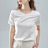 Women's T-Shirt Short Sleeve Female 2021 Summer Round Neck Korean Loose Large Trend White Basic Top