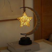 Table Lamps Handmade Rope Wrought Iron LED Night Light Stars   Moon Apple Sepak Takraw Party Room Decoration Christmas Gift
