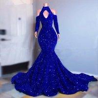 Plus Size Royal Blue Pailletten Meerjungfrau Prom Kleider Elegante lange Ärmel Abendkleider 2021 Rabatt auf Schulter frauen Abendkleid
