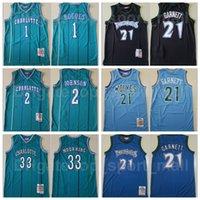 Mitchell و Ness Basketball Alonzo الحداد جيرسي 33 Larry Johnson 2 Tyrone Muggsy Bogues 1 Kevin Garnett Blue Green Black Team 21 Vintage مخيط
