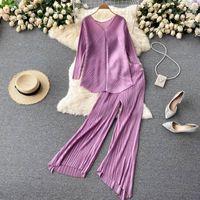 Women's Two Piece Pants SINGREINY Women Autumn Fashion Casual Set Long Sleeve V Neck Loose Tops+High Waist Wide Leg Irregular Suits