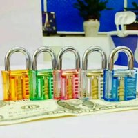 DHL free Colorful Transparent Visible Cutaway Padlock Lock Pick For Locksmith Practice Training door opener auto pick