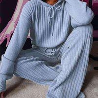 Plus Size Women Suit Set Autumn Long Sleeve Hoodie Wide Leg Pants Knitted Outfit Lounge Wear Women's s