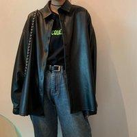 Women's Leather & Faux Women Oversized PU Blouses 2021 Spring Autumn Black Basic Coat Turn-down Collar Motor Biker Jacket