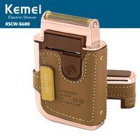 Kemei km-5600 мужская электрическая бритва бритва старинные кожаные обернутые аккумуляторные усы борода триммер бритье бритва