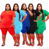 Women Designers Clothes 2021 tracksuits fashion V-neck large size 5x solid color leisure suit