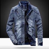 Men's Jackets Vintage Mens Denim Jacket Solid Casual Jeans Coat Fashion Stand Clothes For Men Black Blue Bomber