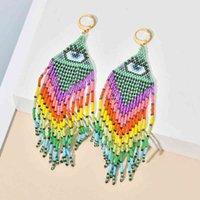 Zmzy miyuki perline orecchini per le donne tessuto fatto a mano Turco malvagio occhio orecchino donna moda nappa gioielli bohe regalo stile
