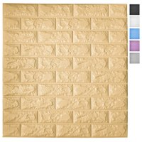Art3d 5-Pack Peel and Stick 3D Wallpaper Panels for Interior Wall Decor Self-Adhesive Foam Brick Wallpapers in Yellow, Covers 29 Sq.Ft