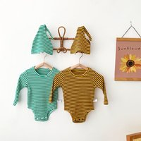 kids Rompers girls boys stripe romper infant toddler Striped Jumpsuits with hats INS Korean version Spring Autumn fashion Boutique baby clothing Z3822
