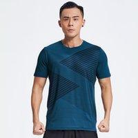 Профессиональные мужчины быстрые сухие бегущие футболки свободные топы дышащие тренажерный зал.