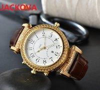 two sides wearing wristwatches men Gentalmen luxury watches women fashion wristwatch leather brown black Relogio Montre male clock