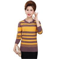 Женские свитера 2021 мода полосатый вязаный свитер среднего возраста женский плюс размер O-воротник пуловер команда женщин свободные вершины 3328