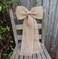 2pcs lot Burlap Pew Bow Rustic Wedding Church Pew Fall Wedding Burlap Wedding Country Decor Vineyard Wreath Bow Customizable H0910