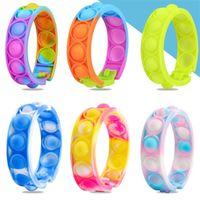 Favors Fidget Bracelet Reliver Stress Toys Sport Wristband Finger Press Bubble Antistress Gift for Kids Teens Adult Children Decompression Sensory Vent Toy