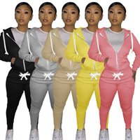 Women Designers Clothes 2021 Autumn And Winter Cotton Sweater Tight Two-piece Hooded Suit