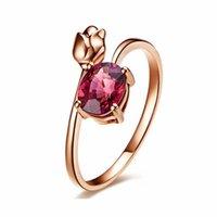 Granada rubí anillo hembra rosa color oro rosa flor roja cristal cz joyería tulipanes para mujeres regalo de amor anillo de boda