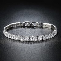 2021 Luxury Princess Cut 18cm 925 Sterling Silver Bracelet Bangle for Women Anniversary Jewelry Wholesale Moonso S5776