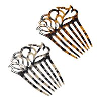Hair Clips & Barrettes French Style Women 7 Teeth Side Comb Hollow Out Celluloid Acetate Updo Styling Tool Hairpins Tortoise Pony