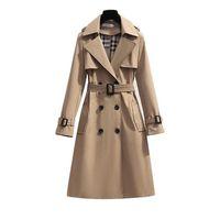 S - 4xlbrand جديد ربيع الخريف طويل المرأة خندق معطف مزدوجة الصدر كاكي اللباس فضفاض معاطف سيدة قميص أزياء قمم 2021 S0903