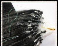Großhandel Grad 6A Jungfrau Haar 100s PC Peruanische Körperwelle Micro-Schleife Ringe Haarverlängerungen # 1 Jet Schwarz Günstige peruanische Haare