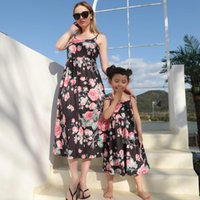 Family Matching Outfits Summer Mother Daughter Dresses Mommy And Me Rose Print Clothes Fashion Women Baby Girls Dress Look