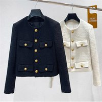 Women's Jackets CBAFU Button Single Breasted Short Jacket Coat Women Vintage Elegant Tweed Back Cosaco Outerwear Trsf Clothes Chic Runway N7