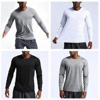 lulu shirts autumn mens yoga align legging top solid color t shirt men gym sport running casual loose leggings clothing quick dry long sleeve pullover breathable