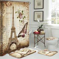 Pariser Turm Landschaft Muster Badezimmer Duschvorhang und Teppich Sets Schmetterlingsblume Anti Slip Matte Deckel Toilettenabdeckung Bad Vorhänge