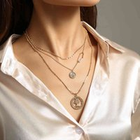 Ins Fashion Beauty Head Coin Multi Layer Clavicle Neck Chain Chaoren Street Photo Personalized Versatile Necklace Accessories