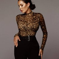 Women's Jumpsuits & Rompers SYSYWEL Women Leopard Bodysuit High Neck Long Sleeve Skinny Jumpsuit Sexy Streetwear Outfits Bodycon Romper Over