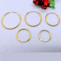 Hoop & Huggie Golden 925 Sterling Silver Earrings Plated With Gold For Women Men Round Circle Hoops Ear Rings Earings Jewelry