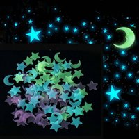 100pcs 3D Stars Moon Glow In The Dark Wall Stickers Luminous Fluorescent Wall Stickers For Kids Baby Room Bedroom Ceiling Home Decors W 1 Butterfly
