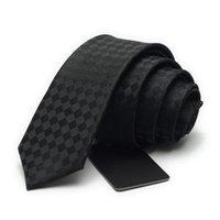 2020 새로운 도착 브랜드 남성용 5cm 넥타이 공식 비즈니스 캐주얼 웨딩 스키니 넥 넥타이 실크 블랙 체크 무늬 중생 망 넥타이 06