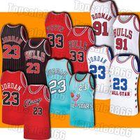 Retro 23 Michael Jersey Scottie 33 Pippen Formalar Dennis 91 Rodman Jersey Vintage Gerileme Basketbol Forması 1994