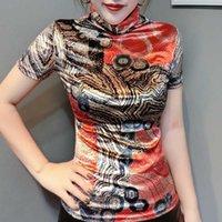 Spring Summer European Clothes Pleuche Print T-shirt Fashion Women Tops Ropa Mujer Bottoming Shirt Tees Coffee T02215 210610